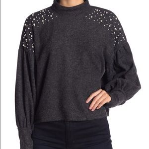Mock Neck Faux Pearl Trimmed Sweater
